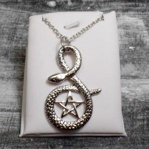 Jewelry - Silver Snake Pentacle Necklace - Star Snake